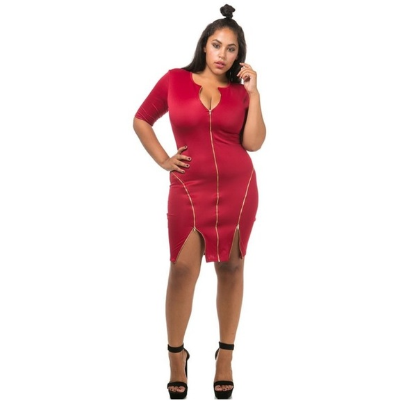 Plus Size Dress With Zippers (Dark Red)